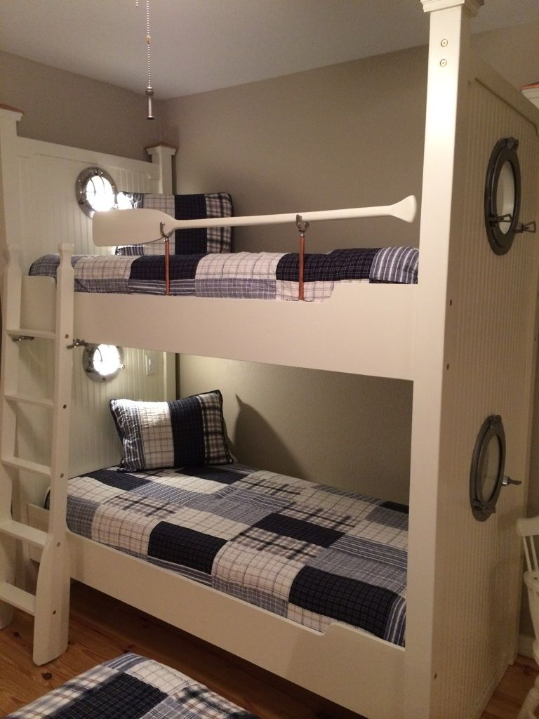 Nautical Bunks With Portholes Reading Lights And Oars Bunk Beds