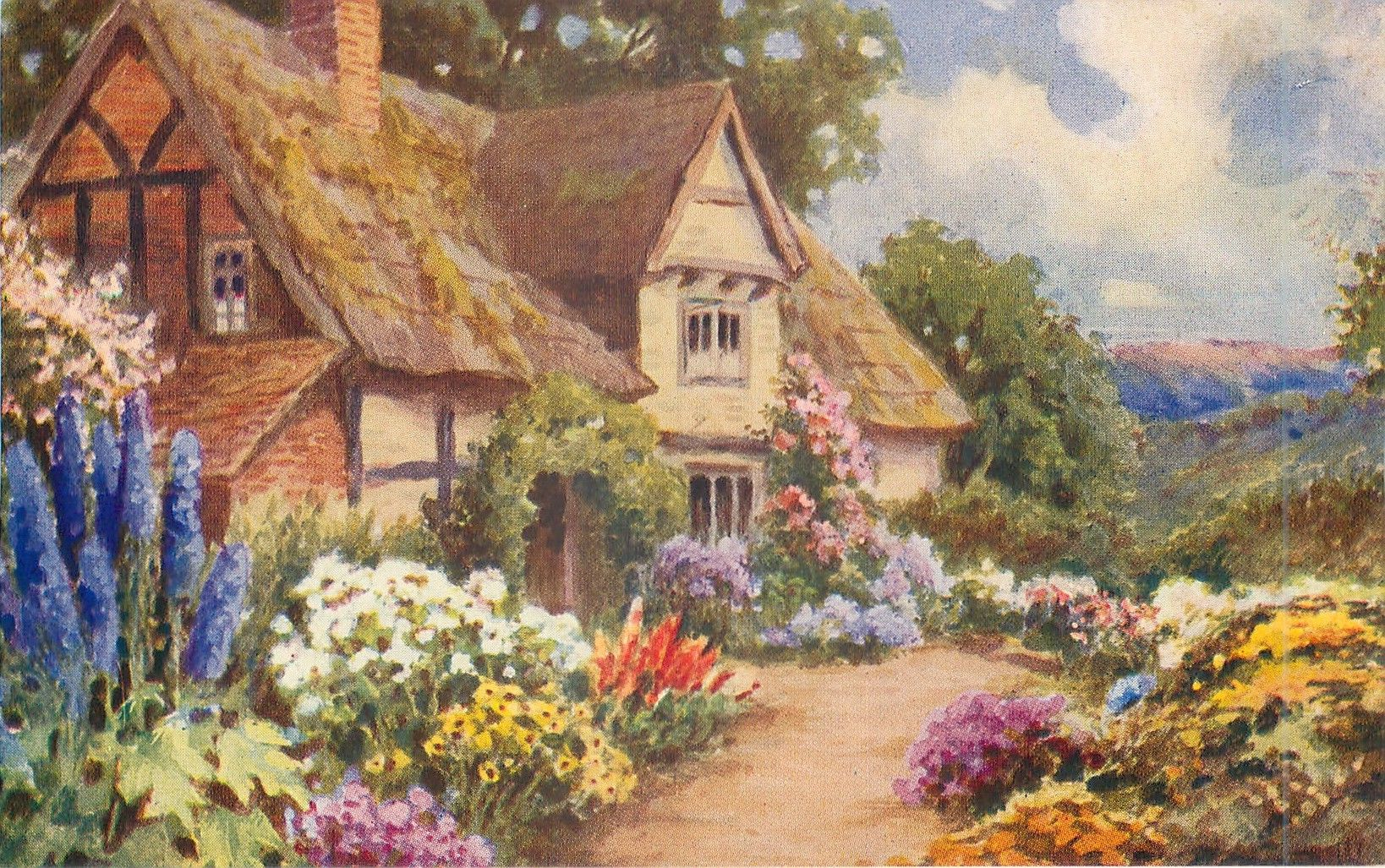 garden in front of thatched cottage | nghệ thuật | Pinterest | Paintings