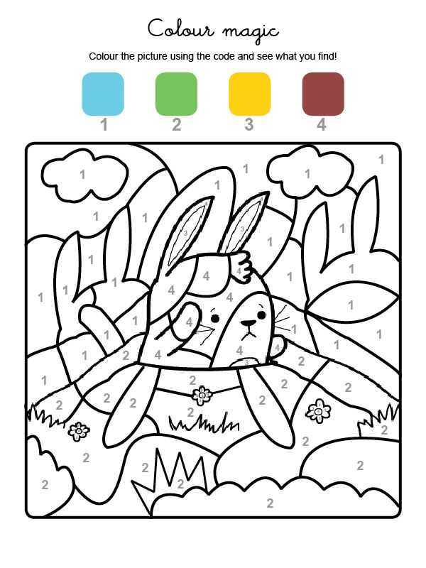 Coloriage Code Lapin.Colour By Numbers Un Lapin Paques Lapin Coloriage