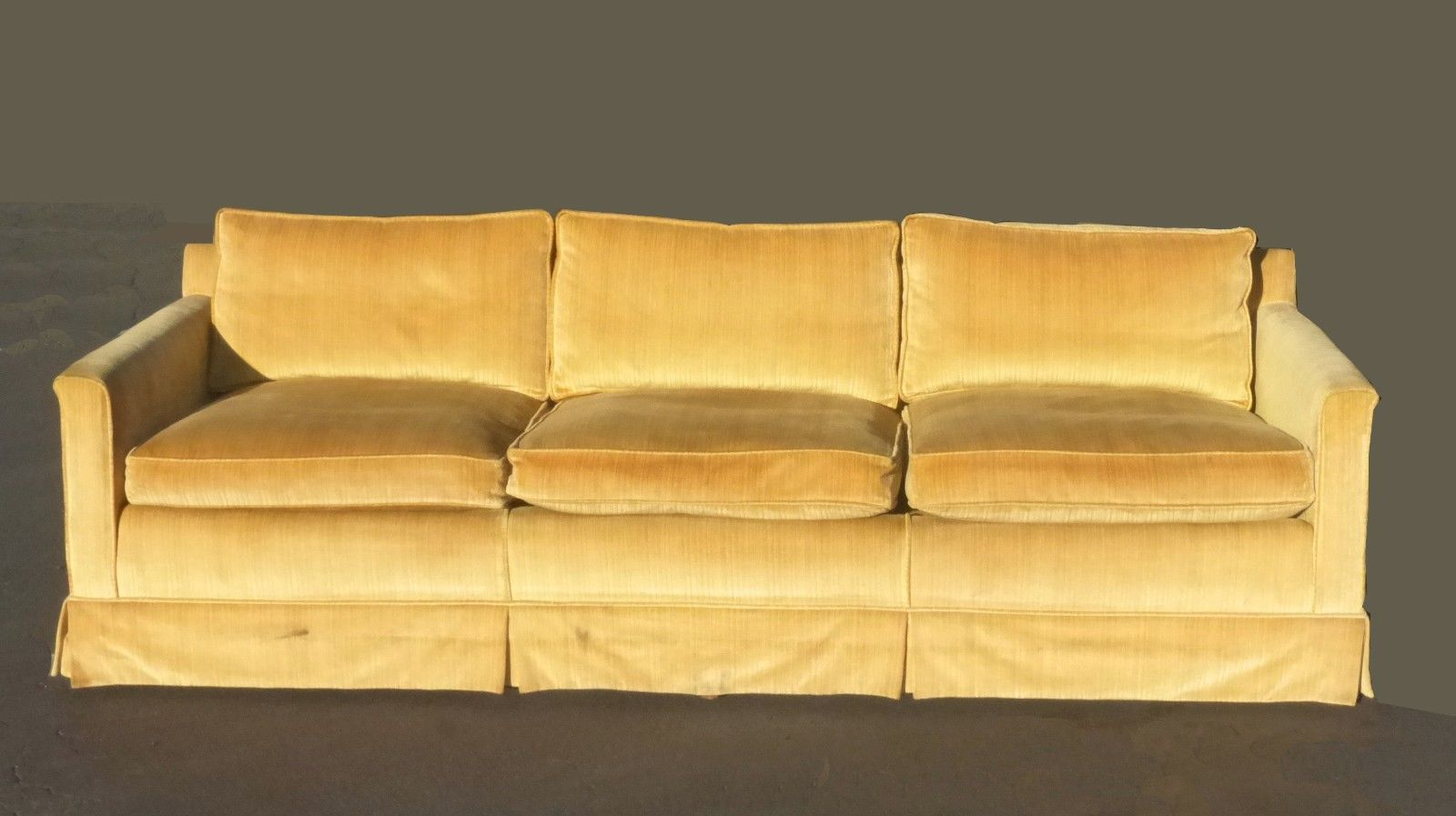 Vintage Mid Century Modern Gold Velvet Down Feathers Sofa Couch
