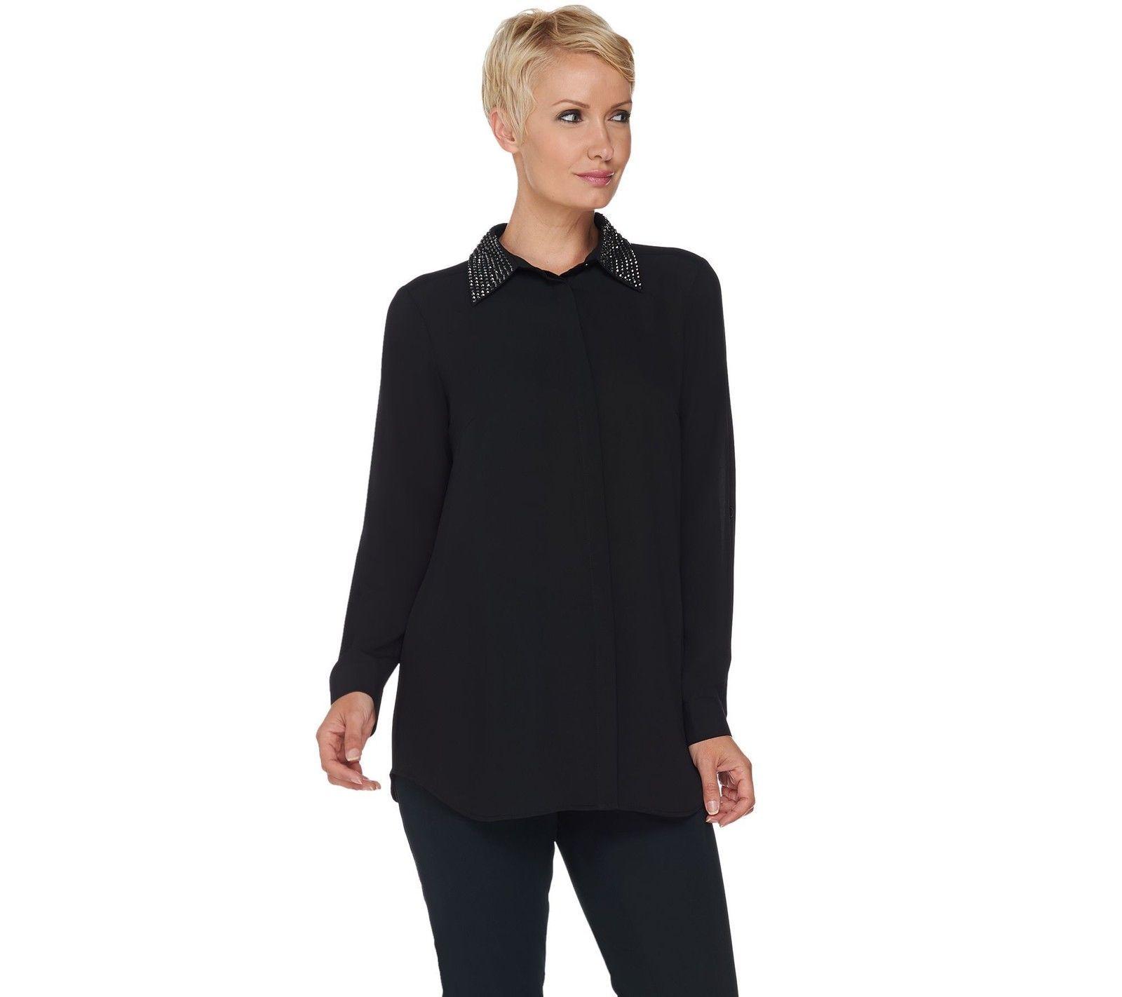 60.37$  Watch now - http://visuc.justgood.pw/vig/item.php?t=isz38az54395 - Joan Rivers Silky Blouse Embellished Collar Button Long Slv Black L NEW A284162