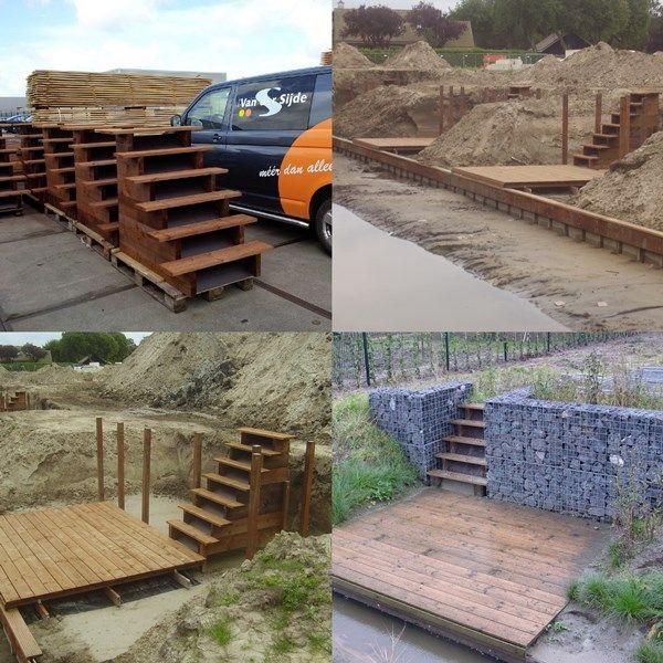 Prefab trappen van bruin ge mpregneerd hout tanatone in for Spiegelvijver maken