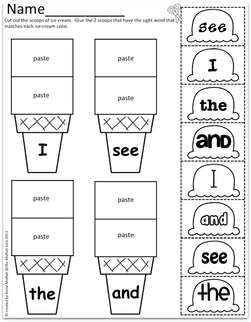 Sight Word Scoops! Perfect summer learning!! | Para imprimir ...