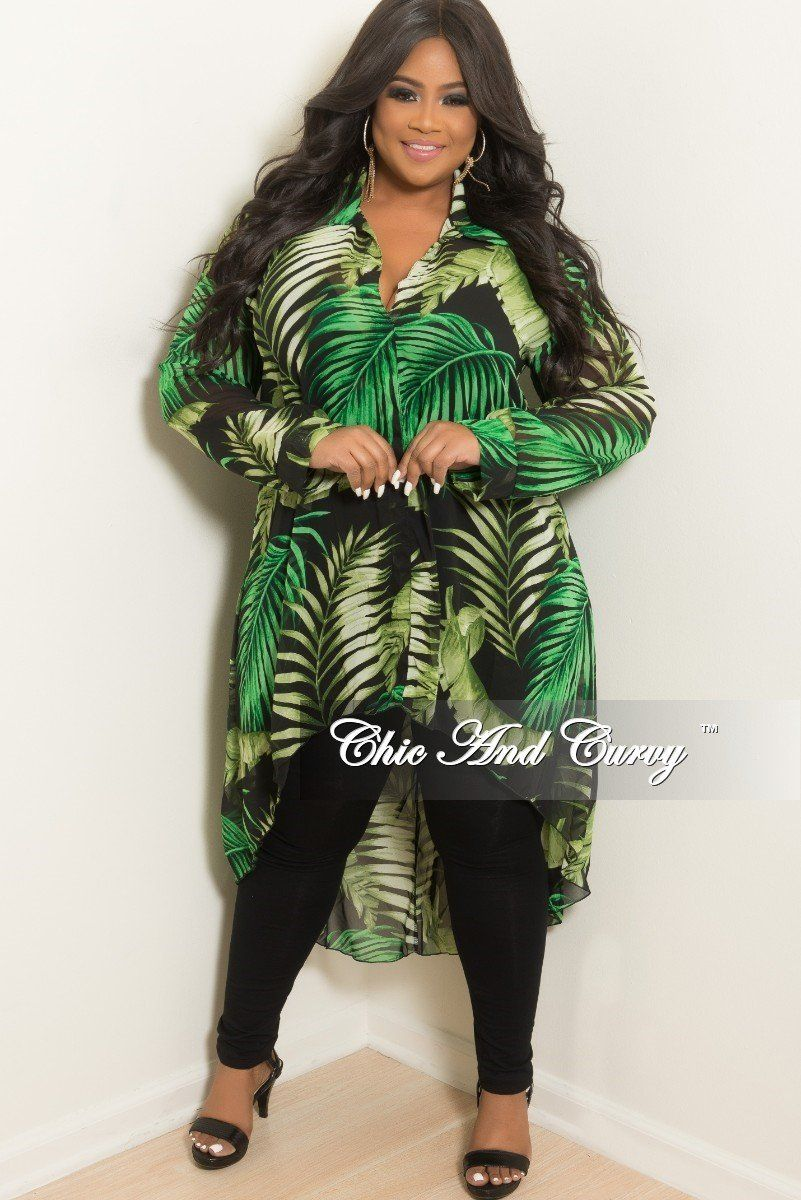 cf7eaef514 Plus Size Chiffon Collar High-Low Top in Olive Black and Green Leaf – Chic  And Curvy