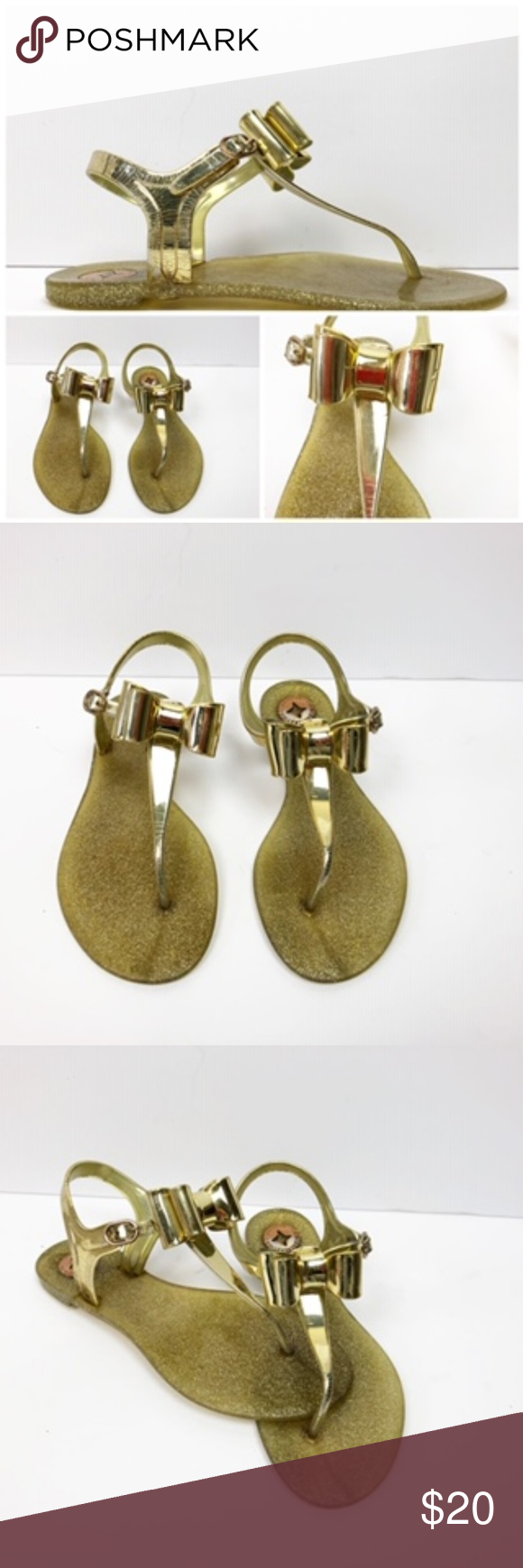 5aa7c232690b BCBGeneration Gold Bow Tie Sandals BCBG Gold Sandals Cute Gold Sparkle  Sandals Size 7 Great Condition