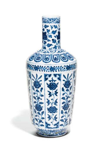 A BLUE AND WHITE 'FLORAL' BOTTLE VASE<br>QIANLONG SEAL MARK AND PERIOD | Lot | Sotheby's