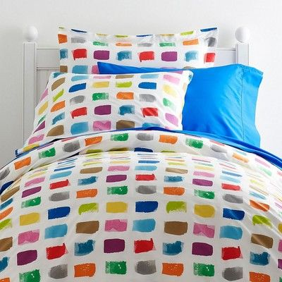 Colorful kids sheets & bedding set inspired by a box of paints ...