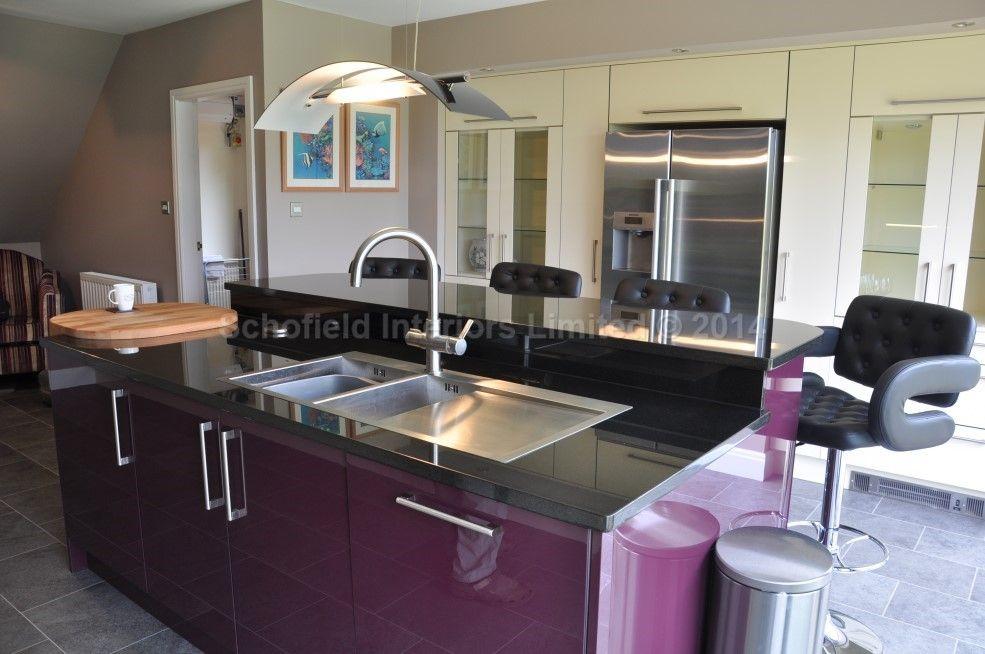 Clients glacier acrylic gloss cream aubergine kitchen for Aubergine kitchen cabinets