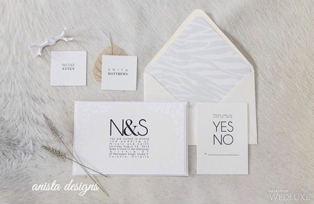 Modern and simple black and white invitation suite by Anista Designs