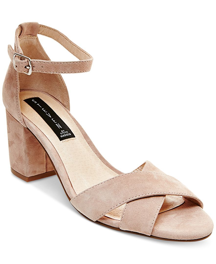 STEVEN by Steve Madden Voomme Ankle-Strap Block Heel Dress Sandals - Sandals  - Shoes - Macy's