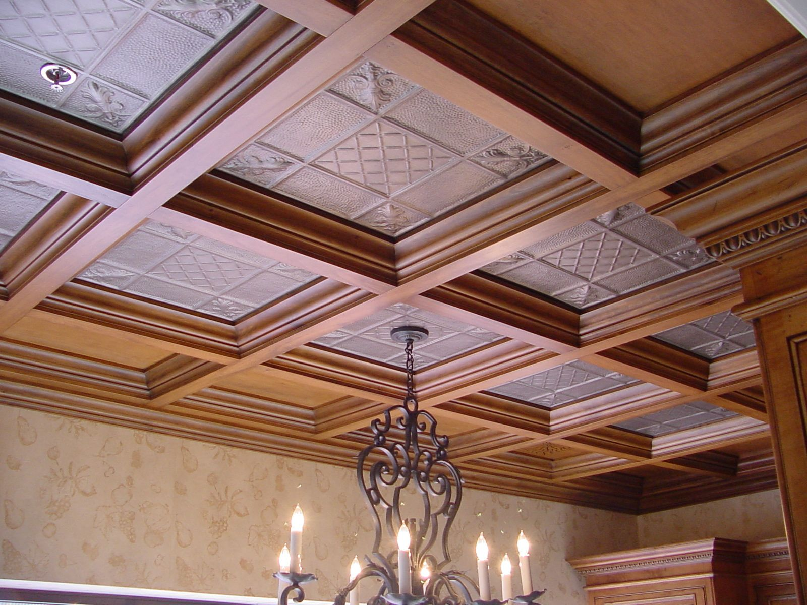 Our coffered ceiling system is designed to provide the classic look of a traditional coffered wood ceiling with the simplicity of a standard drop ceiling