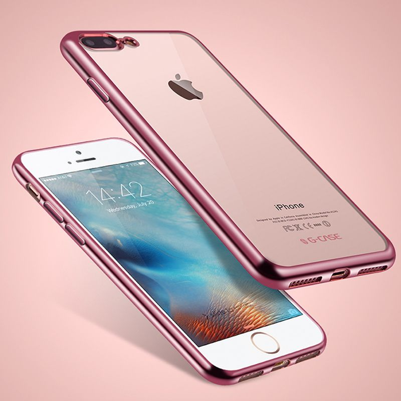 Hot Plating Crystal Clear Coque Fundas Phone Cases for iPhone 7 6 6S Plus SE 5 5S Transparent TPU Soft Cover Caso