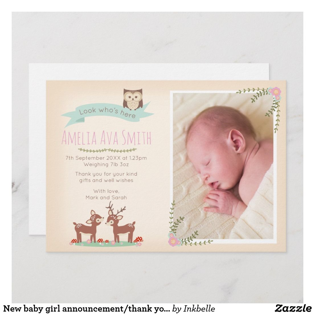 new baby girl announcementthank you card  zazzle