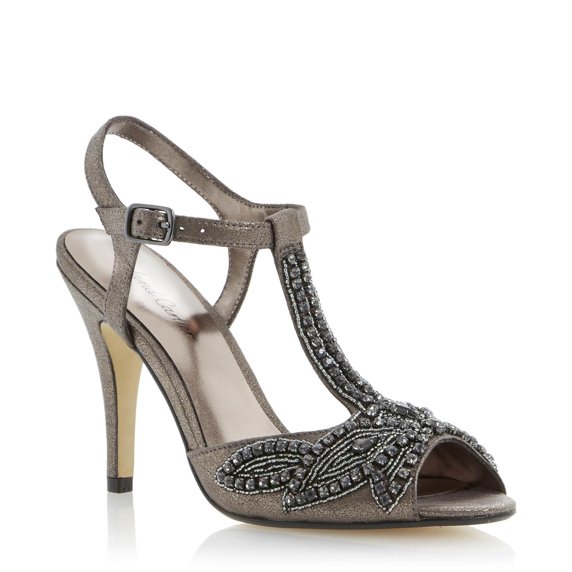 d6a3bd188c Roland Cartier Ladies HARKLE - Bead Embellished Peep Toe Sandal - pewter |  Dune Shoes Online