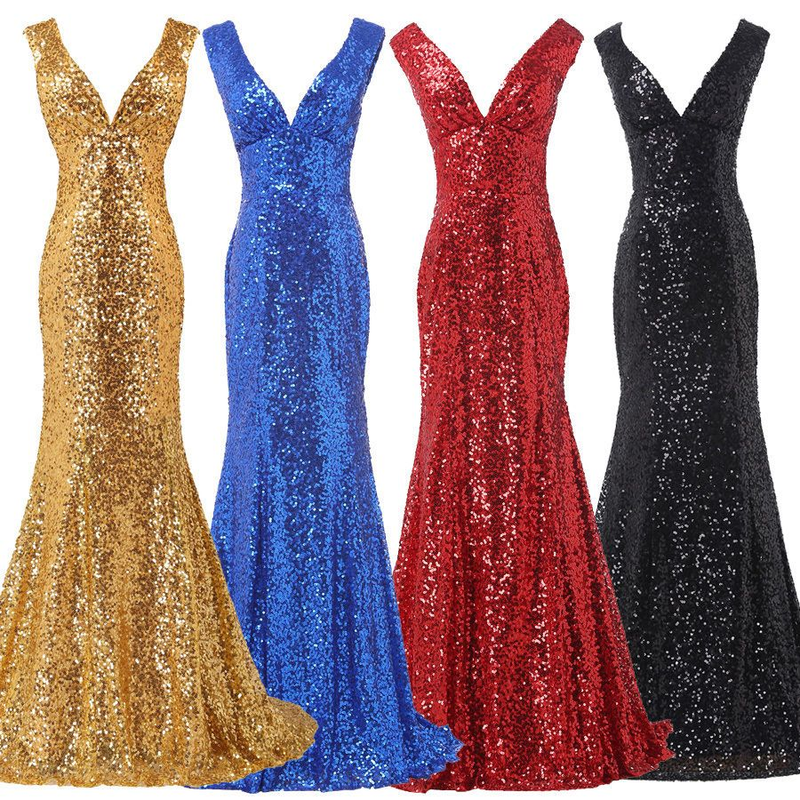 Sequins mermaid tail ball long dress formal evening party prom gown