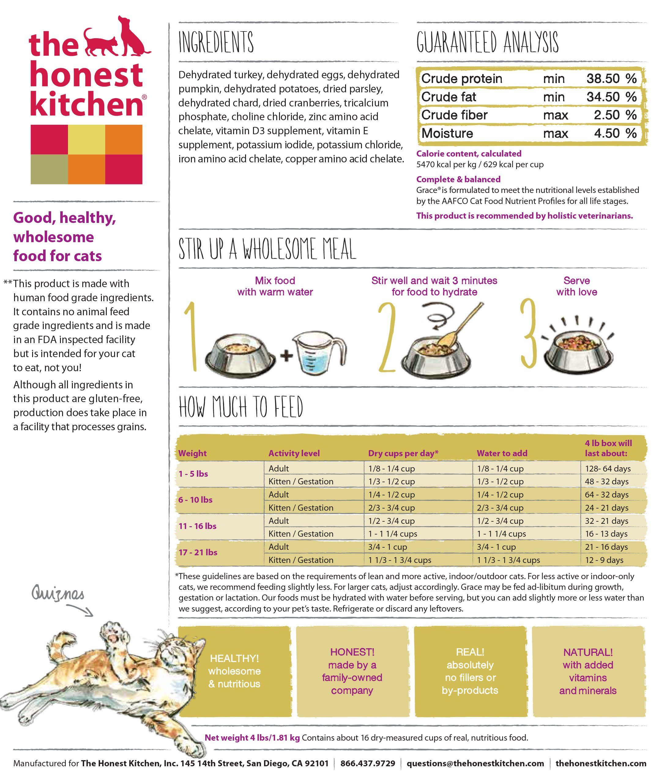The Honest Kitchen Grace Grain Free Cat Food Natural Human Grade