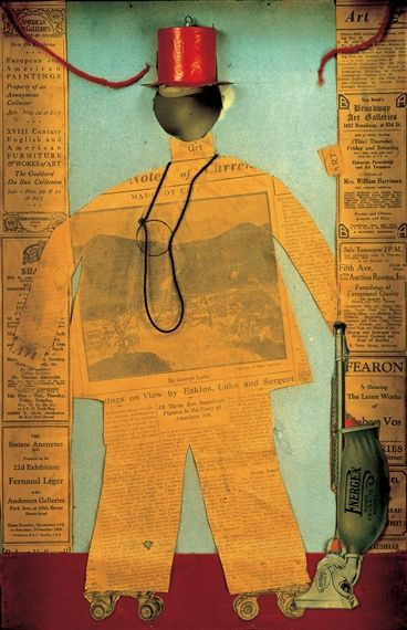The Critic by Arthur Dove; 1925; collage of paper, newspaper, fabric, cord, and broken glass