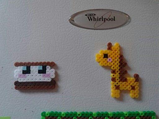 Little marshmallow and Giraffe perler