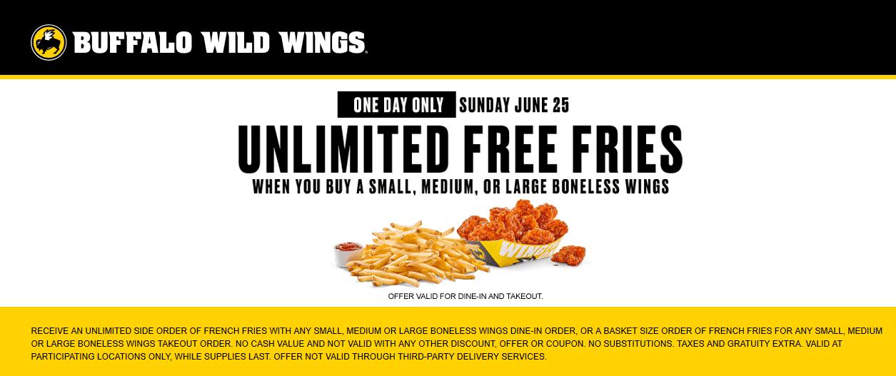 buffalo wild wings menu coupons