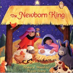 the story of the first christmas is told simply in this colorful chunky board book as kids read they fit a puzzle piece into each page