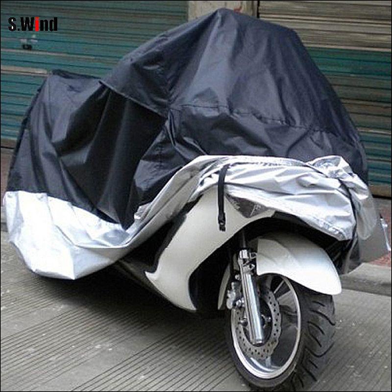 Im freien Wasserdichte UV Schutz Motorrad Regen Staub Schlagfester Abdeckung Bike Motorrad Abdeckung Schwarz und Silber Größe L