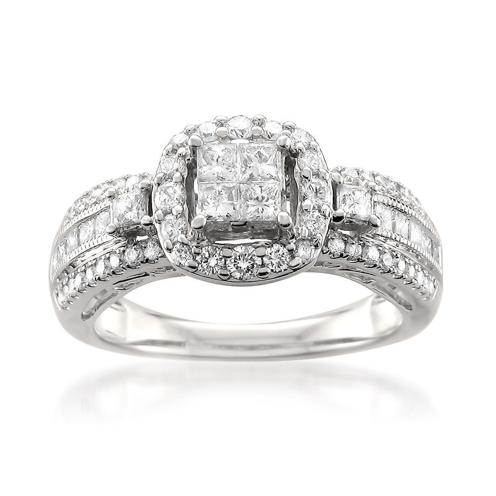 14k White Gold Princess-cut & Round Diamond Invisible-Set Engagement ...