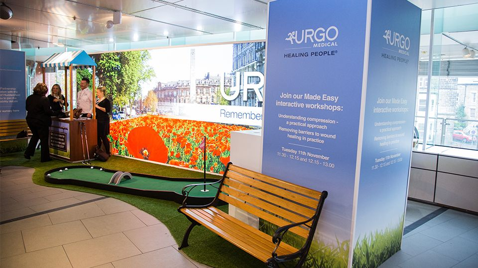 Urgo Medical at Wounds UK, Harrogate #exhibitiondesign #exhibitionstand #golf #lightbox #harrogate www.thisisenvisage.com/ Envisage Brand Experiences - Design, Build, Manager and Deliver Exhibition stands and immersive brand environments #exhibition #stand #design #marketing #experience