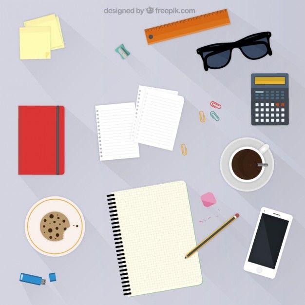 Workspace in flat design Free Vector