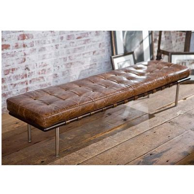 regina andrew tufted gallery bench in vintage cigar brown leather traditional benches candelabra