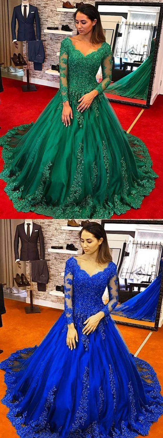 Ball gown scoop long sleeves hunter tulle appliques quinceanera