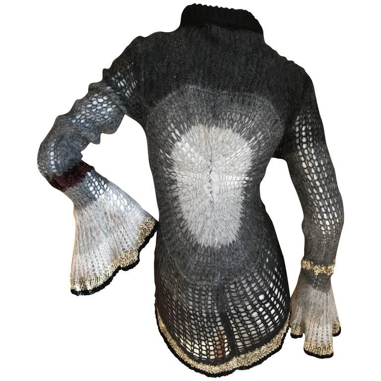 Jean Paul Gaultier Maille Femme Ombre Crochet Bell Sleeve Sweater NWT    From a collection of