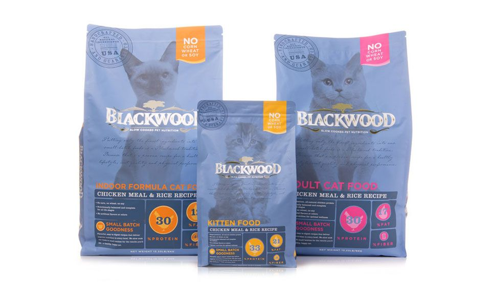 Blackwood cat food on packaging of the world creative