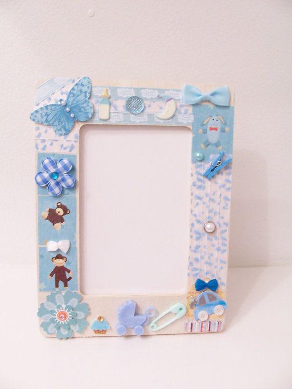 Blue Baby Boy Decorative Wooden Frame   Baby Shower Gift   Baby Themed Frame    Decorative Baby Frame   Baby Nursery Ornament