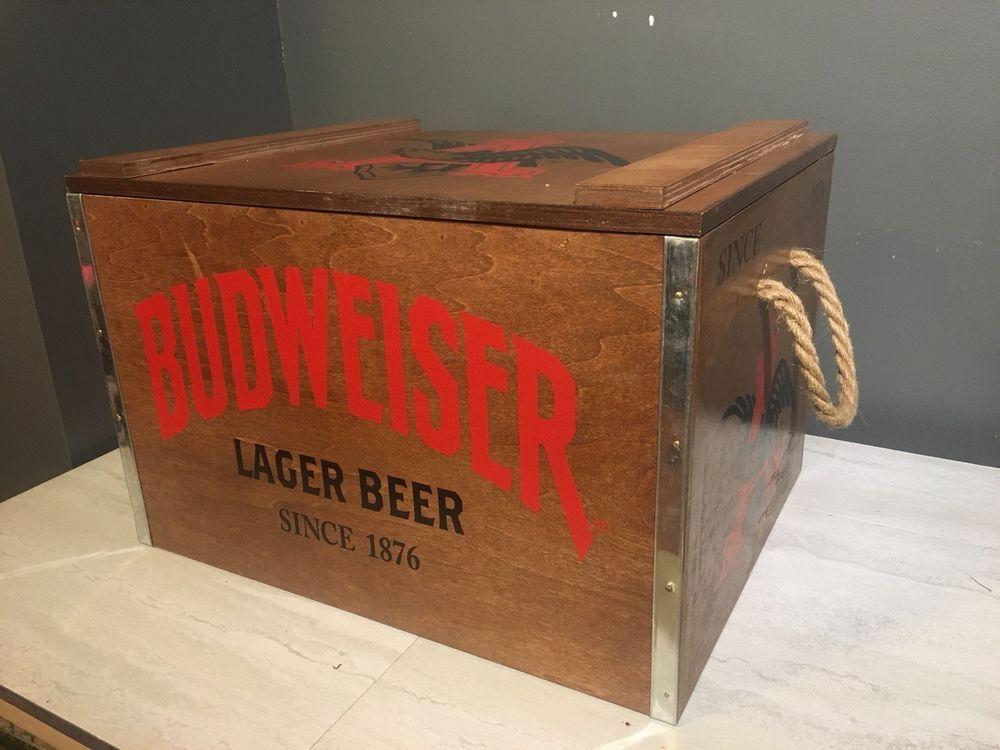 Budweiser Anheuser Busch Wooden Metal Beer Cooler 18x14x12 New