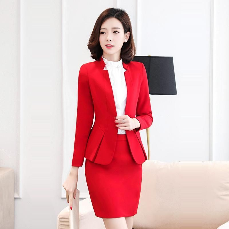 3ab39e76ea3 Sets blazer with skirt set Autumn Fashion Elegant Solid business  professional women work suits split formal sets long sleeve blazer Brand  Name  HIKAEOM ...