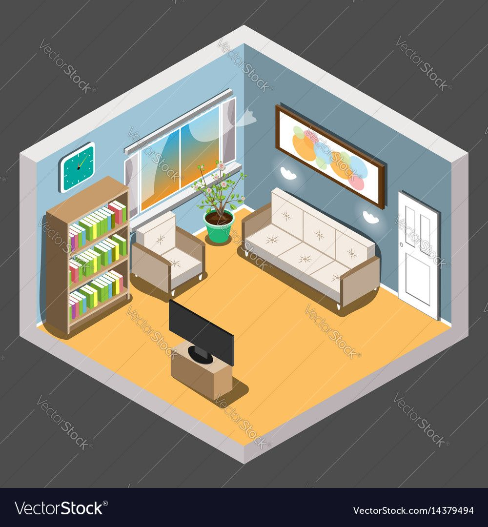 isometric living room interior room vector illustration download a
