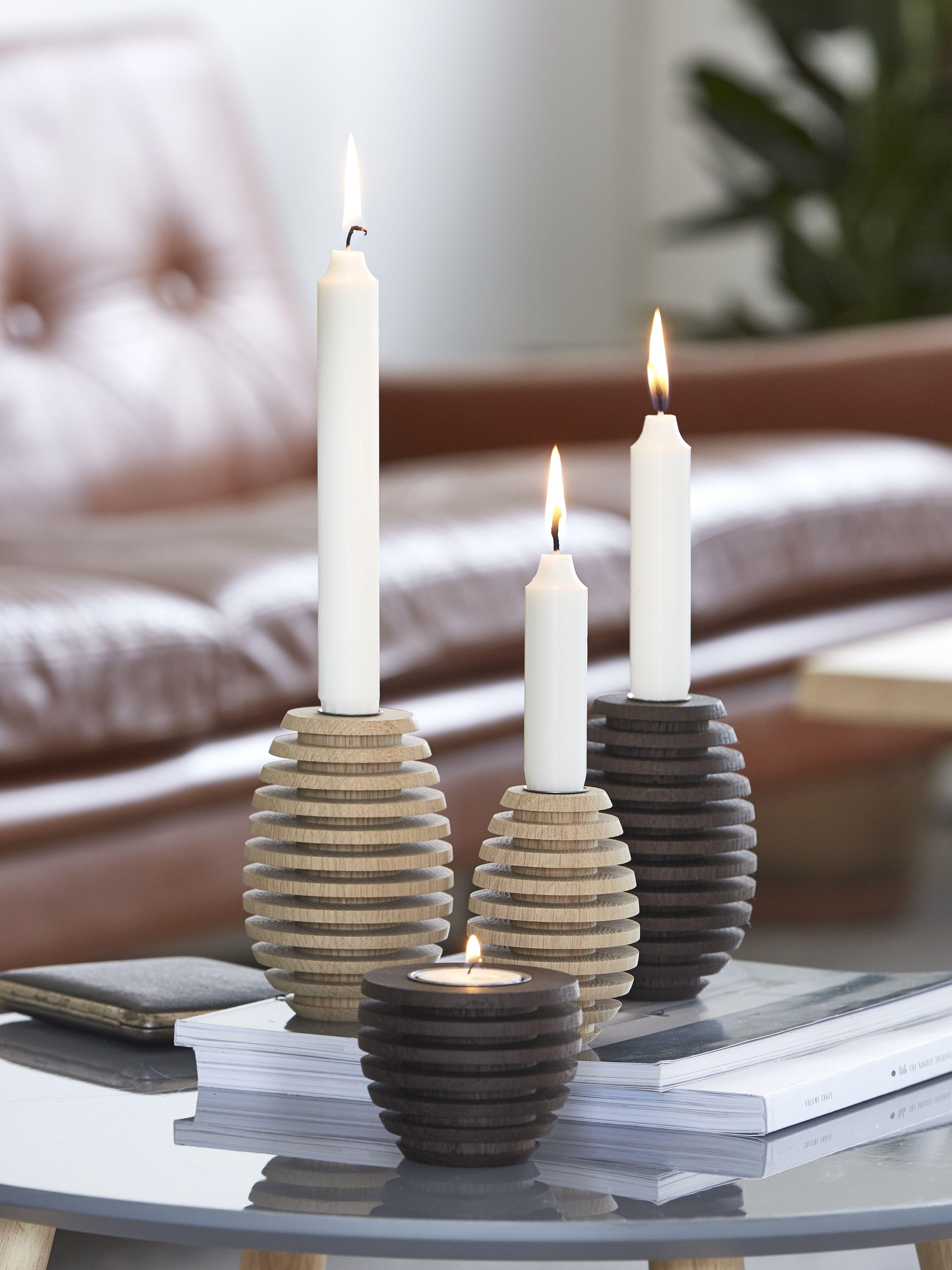 kerzenhalter pine gedeckter tisch tischdekoration aus holz pinterest holz kerzenhalter. Black Bedroom Furniture Sets. Home Design Ideas