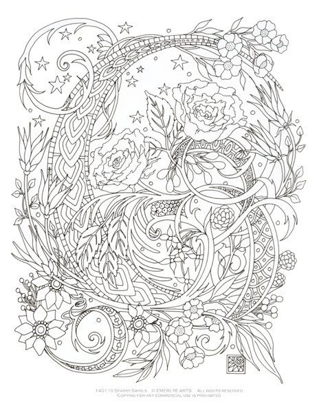 Printable Coloring Page Starry Swirls By Emerlyearts On Etsy