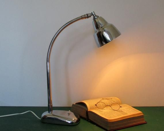 French Industrial Desk Lamp - Lampe d'atelier Elau - Mid Century Lamp - Desk Light - Gooseneck Lamp - Mid Century Decor - Retro Lighting #frenchindustrial
