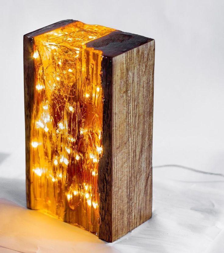 Epoxy Driftwood Table: Wood And Resin Light Block #light #resin #reclaimedwood
