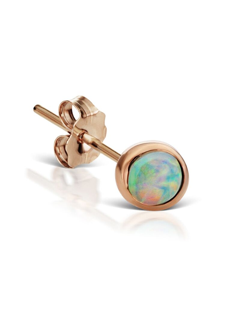 4mm Natural Opal Stud Earring Rose Gold Maria tash jewelry
