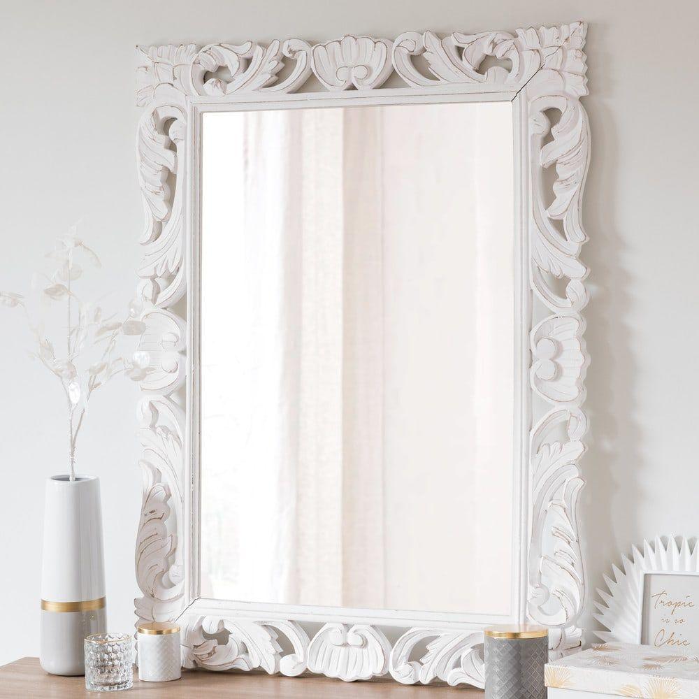 spiegel mit rahmen aus wei em mangoholz 70x96 in 2019. Black Bedroom Furniture Sets. Home Design Ideas