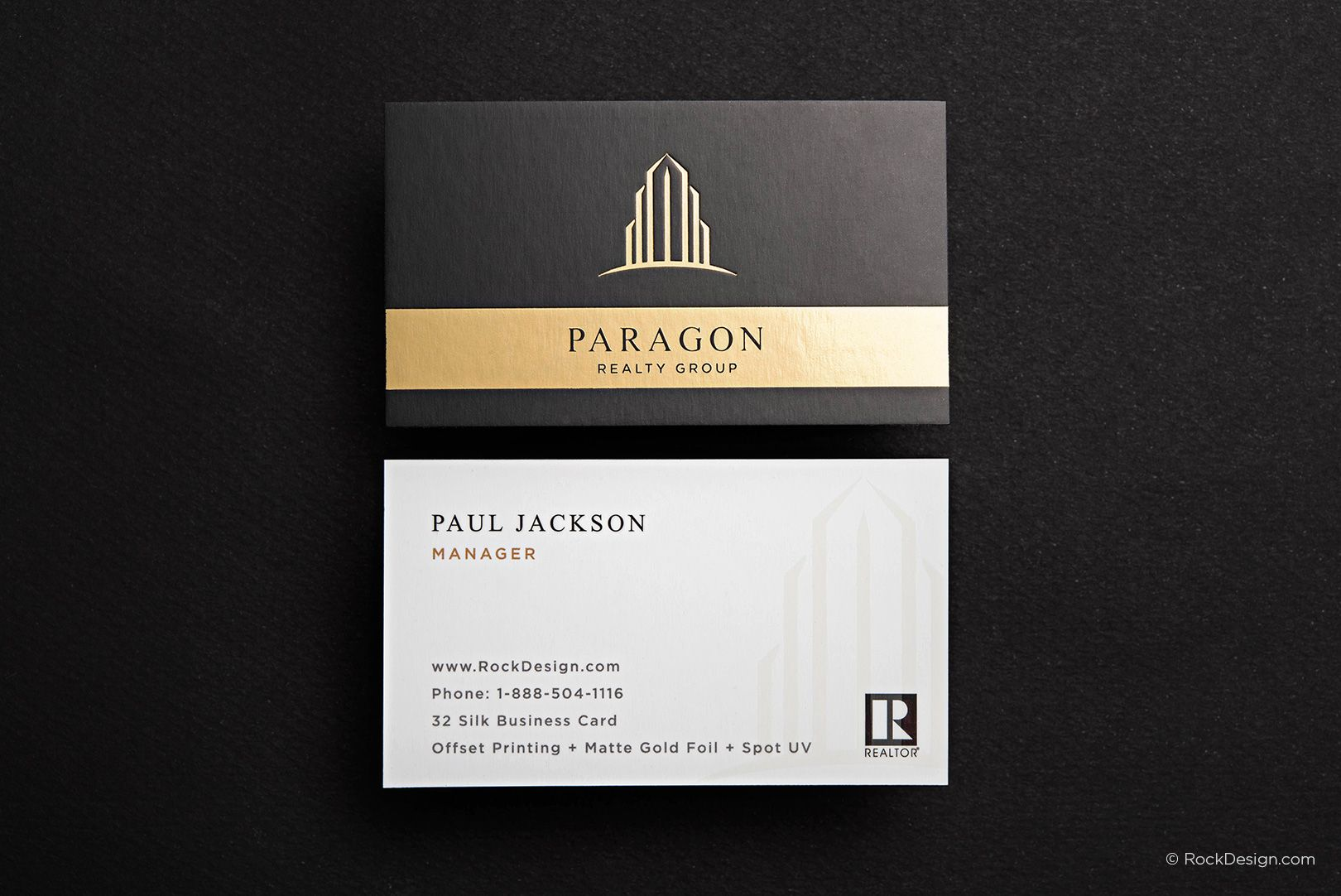 Modern realtor silk business card template with foil and spot uv modern realtor silk business card template with foil and spot uv paragon rockdesign luxury business card printing reheart Images