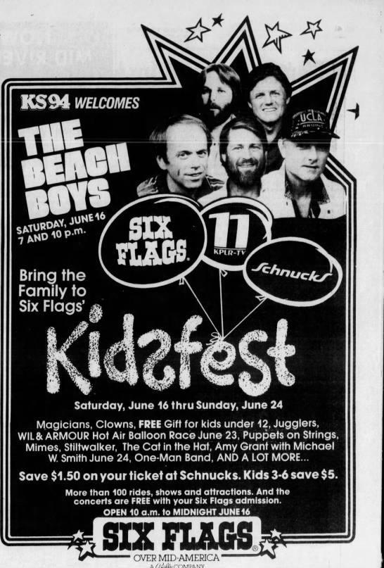 The Beach Boys At Six Flags Kidfest 1984 In 2020 The Beach Boys Six Flags Flag