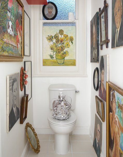 Love The Idea Of Gallery Walls Especially In Tight Spaces I Ve Always Wanted To Wallpaper An A Gallery Wall Design Picture Gallery Wall Powder Room Remodel
