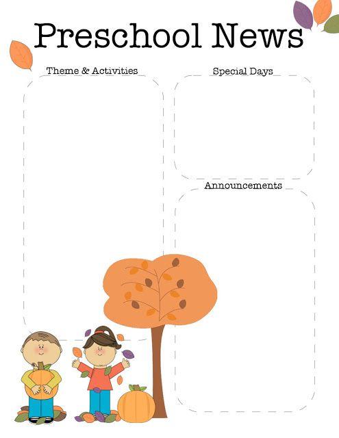 The Crafty Teacher October Preschool Newsletter Template