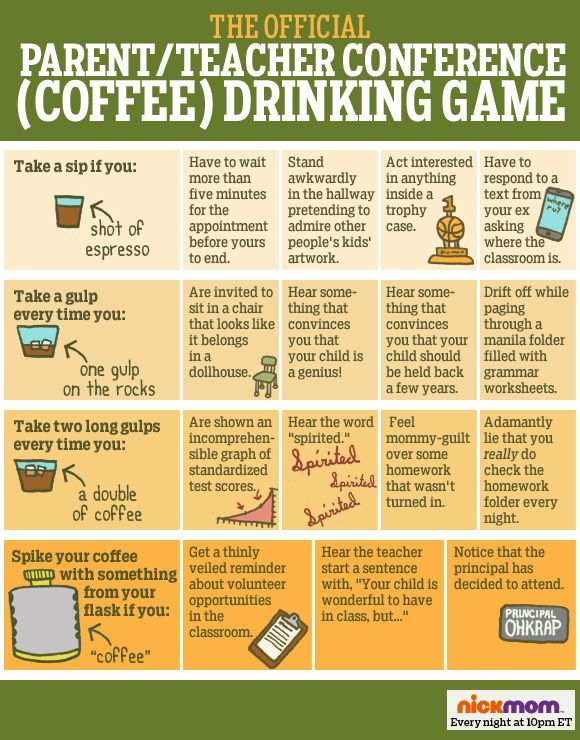 the official parent teacher conference coffee drinking game i