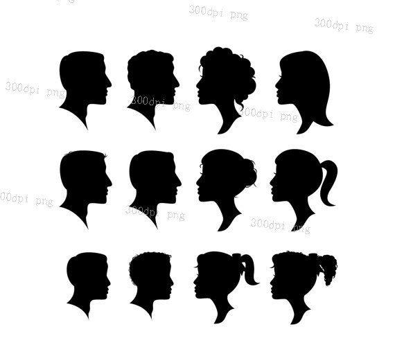12 Heads Silhouette Digital Clipart Vector Eps Png Files Clip Man And Woman Silhouette Silhouette Clip Art Silhouette Vector