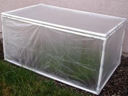 Mini Greenhouse Made Out Of Pvc Pipes And Old Shower Curtain Liners