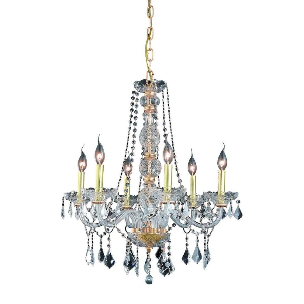 Elegant Lighting 6-Light Gold Chandelier with Clear Crystal
